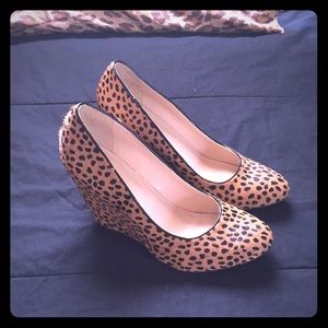 Leopard cheetah animal print wedges